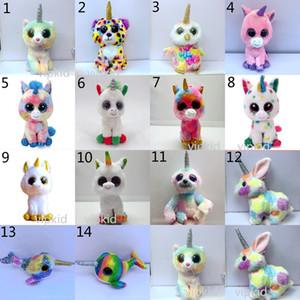 14 Stile Ty Boos peluche degli animali farciti Giocattoli bambini 15-17cm Big Eyes Animali domestici Unicorn bambole per il bambino di compleanno regali di natale giocattolo B1