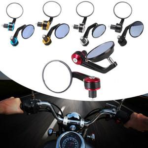 1 par 7/8 pulgadas empuñadura universal de visión trasera de la motocicleta Negro extremo de la barra lateral Espejos