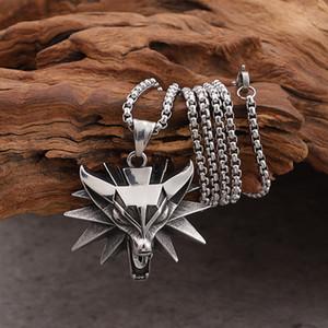 Gnayy prata aço inoxidável mens witcher lobo encantos pingente de colar rolo cadeia 3mm 24 '' biker jóias presentes de natal