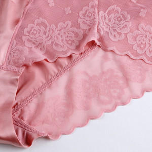 2019 New Plus Size High Waist Panties for Women Underwear Sexy Sexy Transparent Lace Satin Large Size Briefs Big Pantie Female