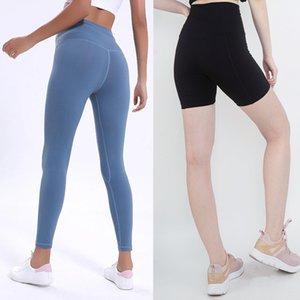 LU-32 couleur unie femmes pantalons de yoga taille haute sport gym porter des jambières élastique fitness dame globale collants complet d'entraînement
