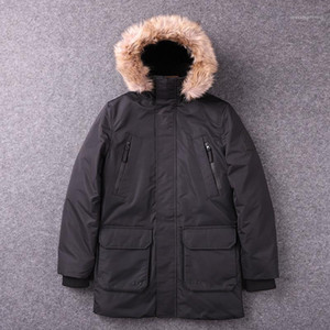 Hooded Parkas Casual Warm Males Clothing Mulit Pockets Panelled Mens Designer Parkas Fashion Thick Fur Collar Mens