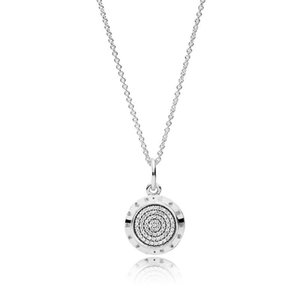 Christmas Gift 925 Silver Plated Signature Pendant Necklaces for Pandora Zircon Disc Charm Chain Statement Necklace for Women Men Jewelry