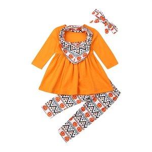 T-shirt de algodão laranja crianças roupa do bebê da menina 4pcs 1-7Y Halloween Tops Dress + Pants Leggings Bow Headress Crianças Set