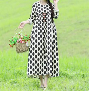 Classic Polka Dot Womens Dress Designer Plus Size Womens Autumn Dress Fashion Long Loose Bohemian Dresses