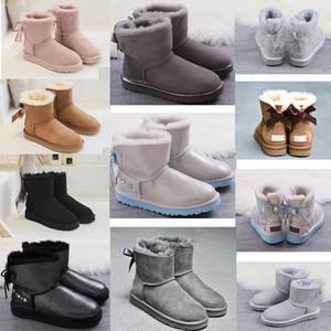 2020 Bow-düğüm WGG Kadın Avustralya Klasik uzun boylu yarım Sneakersuggs Bow Kadınlar kız Kar Kış yarım bot deri ayakkabı wggs 00000 # 022e1b #