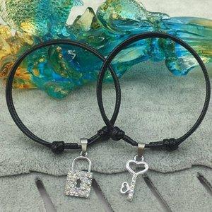 Pulseras de los pares nueva Statment de plata zinc Key Lock encanto pulsera de cristal de aleación cadena cuerda pulseras emparejados regalos de los amantes