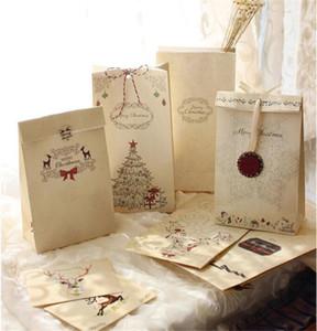 Buon Natale Kraft Paper Bag Eco Friendly Cookie Gift Bag Regalo di Natale Albero stampato cottura Gift Paper Bag