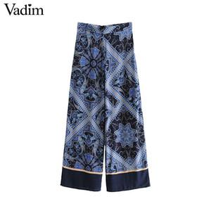 Vadim Frauen Retro Blumendruck breites Bein lange Hosen zurück Reißverschluss Design gerade weibliche Vintage Freizeitkleidung Hose KA927