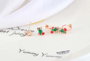 Orecchini di Natale del pupazzo di neve di Natale Calzini di avvio orecchini Mini 925 Ago 2019 gioielli di moda dell'orecchio della clip