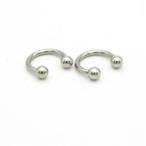Venta al por mayor 316l acero quirúrgico herradura 14G bola de moda curvada joyería piercing del cuerpo vientre barra aro nariz anillos pendientes para las mujeres