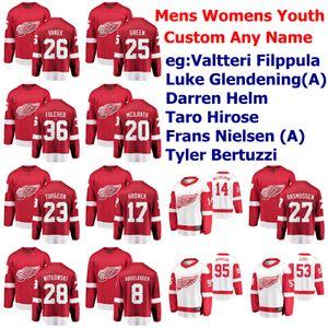 Detroit Red Wings de hockey sobre hielo de los jerseys Lucas Glendening Jersey Frans Nielsen Mike Green Andreas Athanasiou Adam Erne Rojo cosido personalizada
