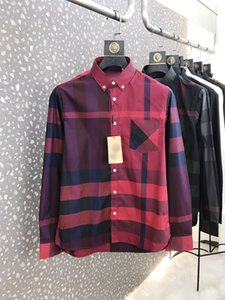 Free Delivery 2020 New fashion latest classic large Plaid collar with point button collar and fish bone pattern Blended Elastic Cotton Shirt