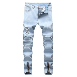 Fairy2019 Xia Spring Jeans Mâle Étrangère Locomotive Au Genou Plié Trous Côté Zipper Élastique Force Bound Pieds Pantalon Homme