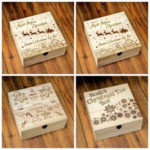 Natale Carved Box di legno di Babbo Natale Elk Snowman Gift Boxes popolare della decorazione della casa dell'ornamento Multi Style design 13jc H1