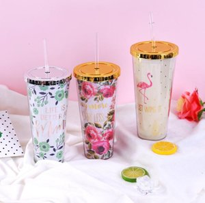 The latest double-layer plastic food-grade sippy cup 3 styles peony flower flamingo, free shipping, support custom logo and style