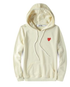 19SS 일본 남자의 조류 브랜드 사랑 단색 후드 스웨터 작은 붉은 마음 남녀 캐주얼 얇은 코트