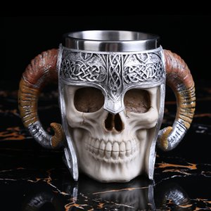 1PCS 600ML Viking Ram Horned Pit Lord Warrior Skull With Battle Helmet Beer Stein Tankard Coffee Cup Mug ePacket Many