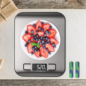 AIRMSEN Household Kitchen Scale Electronic Food Scale Baking Scale Measuring Tool Stainless Steel Platform with LCD Display Y200531
