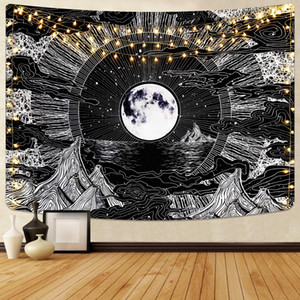 Psychedelic Space Mountain Luna Tapestry Wall Hanging Nero Bianco Hippie panno sottile parete Tapestry Blanket Poliestere Copriletto