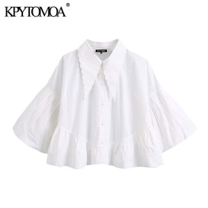 KPYTOMOA Women 2020 sweet Fashion Buttons Ruffled Croffed Blouses Vintage Wide Lapel Collar Puff Sleets Female Shirts Chic Tops