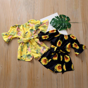 Crianças Designer Clothes Criança Raparigas girassol Impresso macacãozinho bowknot Jumpsuit Moda Verão Alargamento da luva Oneises Boutique Roupa PY585