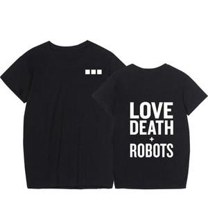 Robots Mens T-shirts Verão de impressão em torno do pescoço de manga curta Mens Tops Moda secagem rápida Mens Tees Amor Morte e