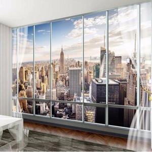 Foto Papel De Parede Personalizado 3D Estéreo Mais Recente Fora Da Janela New York City Paisagem Wall Mural Escritório Sala de estar Decoração Papel De Parede
