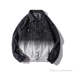 Hip Hop Style Lettre Imprimer Gradient Hommes Demin Vestes Casual Hommes Vêtements Vintage Mens Designer Demin Vestes De Mode