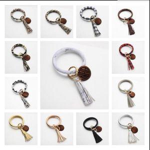 Кожаный браслет брелок кисточкой персонализированные деревянные диск кулон браслет брелок женщины запястье кулон 13 цветов BBA17