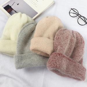 Diseñador para mujer sombreros con Solid conejo color del sombrero de piel de las mujeres con muchos colores casquillos de la manera Beanie / cráneo de invierno Opcionales