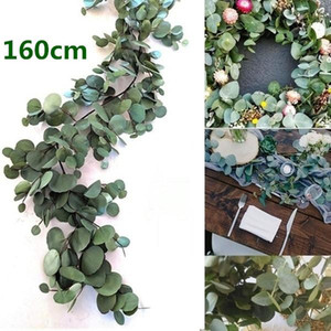 160CM Artificial Eucalyptus Garland Hanging Rattan Wedding Greenery Willow leaf Table Centerpieces Party Hotel Cafe Decor New