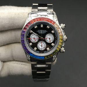 3 colores de alta calidad de los hombres reloj mecánico automático del reloj de pulsera de acero arco iris lleno del diamante del bisel Cosmograph Relojes de 40mm