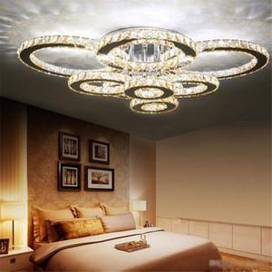 Простая творческой цветок кольцо кристалл потолок лампа гостиной лампа столовая лампа спальня лампа Современные линии вырезать кристаллический свет круглого свет