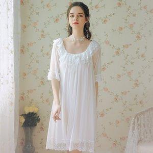 Tül Dantel Ruffles Lolita Kadınlar Robe Seksi Yarım Kol pijamalar Prenses Bornoz Pijama 2020 Yeni Balo Gelinlik Ev Giyim Şal