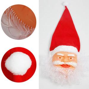 Santa Claus máscara de la Navidad con las gorritas cap partido de la mascarada de la máscara de la cara llena de Cosplay divertido Máscaras bigote de Navidad Juguete Decoración LJJA3405