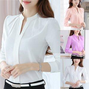 Краткая офисная рабочая одежда V образным вырезом рубашки с длинным рукавом повседневная блузка белая рубашка женщины женские блузки и топы высокое качество MX200407