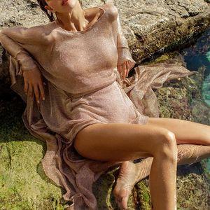 Mossha Transparent sash belt beach dress women 2020 bikini Long sleeve cover up Sexy shiny beach tunic Gossamer o-neck swimsuit CX200606