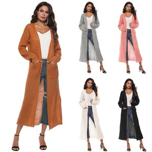 Cardigan Sweaters Woman's Long Coat With Slit Pockets V Neck Long Sleeve Maxi Trench Coat Women Plus Size