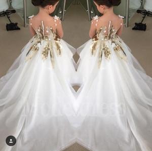 Or Paillettes robe de bal Appliques fleur Robes pour le mariage avec de longues robes de train filles Pageant pour les petites filles