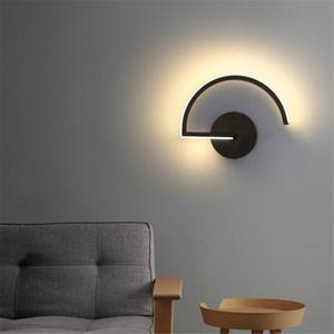 Alumínio Preto Modern Wall Lamp minimalista Bar Cafe de cabeceira quarto corredor casa decoração de iluminação criativa Lampara Decor luzes