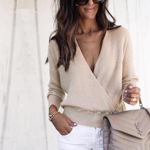 Femmes Solid Color Pulls manches longues lambrissé affaires Mode Vêtements pour femmes Printemps V Neck