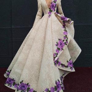 Dentelle asymétrique robes de bal formelles 2019 profond col en V manches longues broderie appliques robe de soirée robe sexy tapis rouge