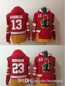 Calgary Flames 13 Johnny Gaudreau 23 Sean Monahan hóquei Jacket Jersey Hoodie Sueter Inverno Top Quality! 100% costurado