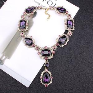 Lila quadratische Kristall Opulente Halskette Frauen romantisches Herz-Glas Anhänger Halskette indischen Brautschmuck ZA Weihnachtsschmucksachen 5 Farben 1 P