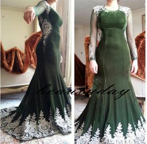 2019 Oliver Green Vestidos de noche de manga larga para mujeres Use un vestido de fiesta Apliques de encaje Terciopelo Dubai Caftan musulmanes vestidos de fiesta árabes