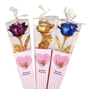 24K altın kaplama Gül çiçek Sonsuza Aşk Sevgililer Günü Hediye Dekorasyon Yapay Çiçek Düğün Dekor Folyo Çiçekler LJJK1966 Dipped