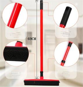 Hot Garden Home Rubber Broom Pet Cabelo Lint Dispositivo de Remoção telescópico Cerdas Magic Clean Sweeper rodo zero cerda longa push broom