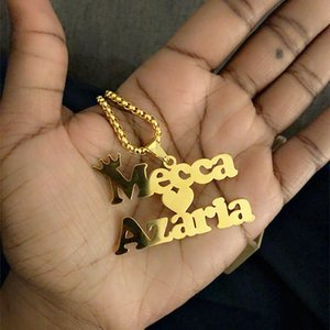 الفولاذ المقاوم للصدأ سحر شخصية اسم قلادة الرجال المجوهرات الشرير نمط الذهب سلسلة لوحة كولير فام مخصص هدية