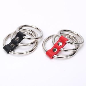 Черный / красный искусственная кожа металл время задержки пениса рукава Набор (3 кольца) петух кольца, пенис кольца секс-игрушки для мужчин эротические взрослые продукты